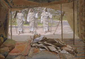 """Abraham and the Three Visitors"" by Tissot"