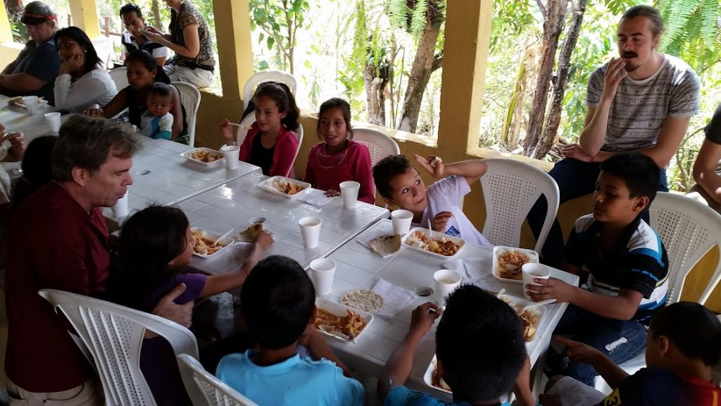 serving lunch in San Antonio La Paz